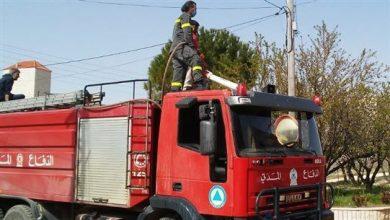 صورة إخماد حريق داخل غرفة لعمال اجانب في حارة صخر جونية